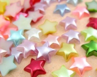 SALE 40% offPearlized Star Shape Flatback Resin Cabochon Embellishments, Scrapbooking, Cell Phone, 11mm,  Low International Shipping