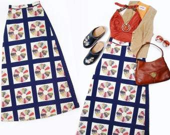 SOLD in-store **Do Not Buy** 70s Nancy Bee of California navy blue grid & wheel quilted maxi skirt - SIZE XS