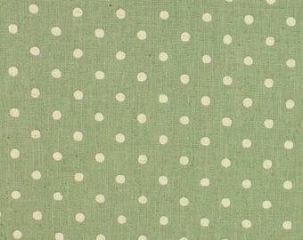 Linen Mix Polka Dot fabric from Sevenberry in green Fat Quarter