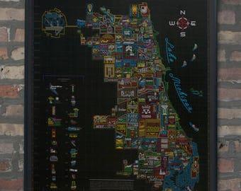 Neon Neighborhood Map of Chicago Poster Wall Art