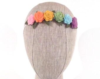 Pastel Rainbow Felt Flower Headband | Easter Headband | Flower Headband | Rainbow Headband | Flower Halo