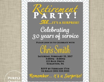 Surprise Retirement Party Invitation Farewell Goodbye Gray Gold Masculine Invitation Adult Party Printable Invite 5x7 Digital JPG File 349