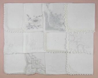 Vintage Hanky Lot,Wedding Hanky Lot,One Dozen White Wedding Vintage Hankies Handkerchiefs (Lot #94)