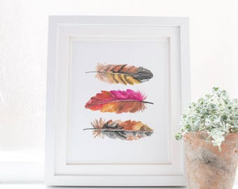 Feather Print, Feather Art, Wall Printables, Feather Watercolor, Pink Feathers, Bohemian Wall Art, Feather Artwork Instant Download Boho Art