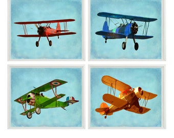 Vintage Airplane Art, Baby Boy Nursery Wall Art , Big Boy Room, Vintage Art, Biplane Art, Plane Print, Playroom Home Decor, Photograph