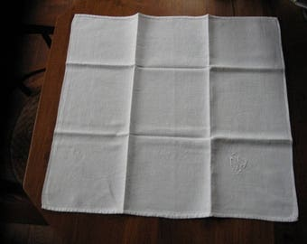 Antique white cotton tea towel with decorations and 2 initials, approx. 1930...