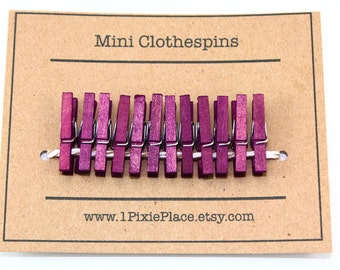 Mini Clothespins - Set of 12 - Wine