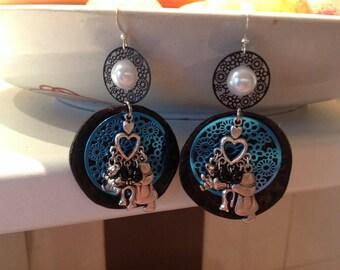Earrings fancy blue and black