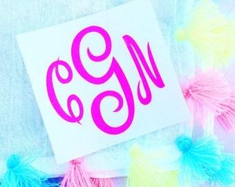 Monogram Vinyl Decal / Yeti Vinyl Sticker / Car Decal/ Monogram Vinyl Stickers/ Camp Trunk Decals/ Monogrammed Gifts/ Birthday