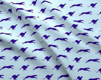 Hound Fabric - Sighthound Greyhound Running Whippets Purple Blue By Free Spirit Designs Dog Pet - Cotton Fabric By The Yard With Spoonflower