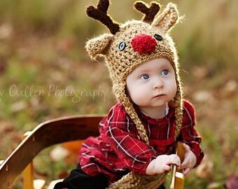 Baby Hat - Reindeer Hat - Baby Reindeer Hat - Baby Gift Hat - Christmas Photo Prop Hat - Tan Reindeer Beanie - by JoJosBootique