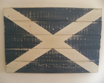 "Distressed Scottish Flag Wood Wall Hanging 25.5"" x 17.5"""