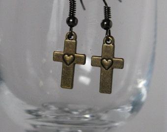 Cross with Heart Earrings