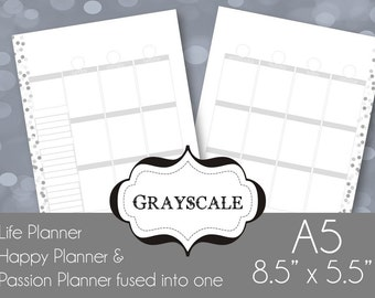 Black & White A5 Printable Planner Pages Week spread vertical box style Sunday and Monday Start included,  Grayscale