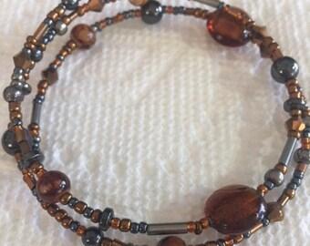 Hematite and Brown Beaded Memory Wire Bracelet Multi Strand Wrapped Bracelet