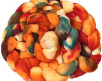 Tigerlily - hand-dyed merino wool and silk (4 oz.) painted combed top