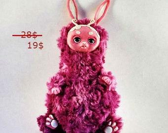 Fantasy doll Pink bunny rabbit ooak zombie woodland fake faux sculpture Fur Kawaii Toys Fluffy Plush Fantasy animal Cute creature Monster