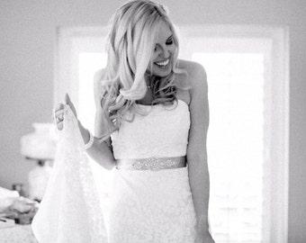 EMMA Crystal and Pearl Wedding Belt, Wedding Sash, Bridal Belt, Bridal Sash, Dress Sash, Bridesmaid Belt, Gray Rhinestone Sash, Choose Color