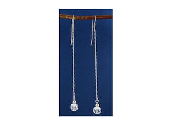Sterling Silver Chain & Crystal Quartz Bead Long Shoulder Duster Earrings