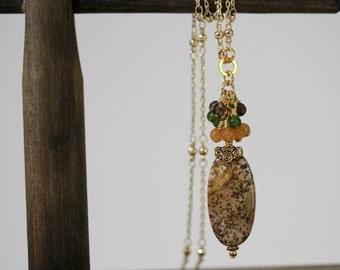 Brown Necklace, Dainty Necklace, Minimalist Necklace, Autumn Necklace, Picture Jasper Necklace, Dressy Necklace, Dainty Jewelry