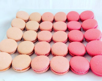 36 Pink Ombré French Macarons