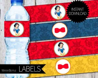 Snow White Birthday Party PRINTABLE Water Bottle Labels- Instant Download | Princess Snow White | Disney| 2 inches Circles