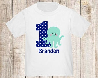 Under the Sea Octupus Personalized Birthday Shirt - ANY Age
