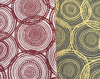 """ABORIGINAL Fabric Brown or Yellow Abstract Circles Precut Quilt Squares. 5"""" Quilt Charm Squares. Fabric for quilting Australia"""