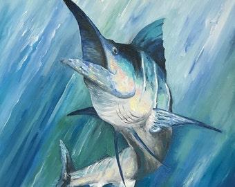 "Blue Marlin Fish Original Oil on Canvas 14"" x 18"""