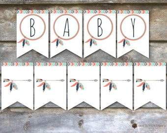 Tribal Baby Shower Decorations, Tribal Baby Shower Flags, Tribal Baby Shower Banner, Aztec Baby Shower Banner, Mint, Coral, Pink, Tribal
