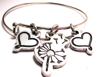 Dandelion flower blowing in the wind for wishes  bangle charm bracelet