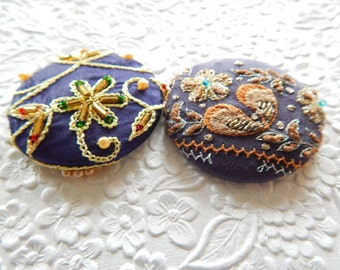 Blue beaded embellished fabric covered button, 1 7/8 inches, 1.9 inches, 4.7 cm, 48.26 mm, size 75 buttons, price per button