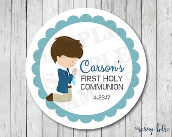 Boy First Communion Stickers . Personalized First Holy Communion Favor Tags or Labels, Communion Favor Stickers