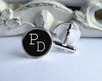 Mens Cufflinks, Monogram Cufflinks, Personalized, Classic Black And White