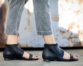 SALE, Black Summer Shoes, Leather Sandals, Strappy Sandals, Handmade Sandals, Black Sandals, Summer Flats, Gladiator Sandals, Albane