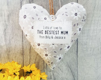 Personalised Mother's Day Gift for the 'Bestest Mum' - Fabric Heart - choice of fabric - Gift Boxed.