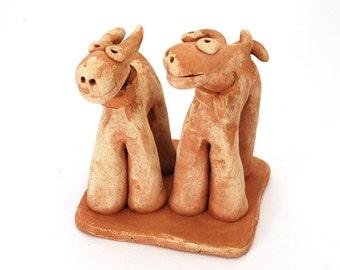Dog Art Sculpture, dog figure, clay dog couple, ceramic dog sculpture, ceramic art, dog lover gift, dog art gift, birthday gift, family gift