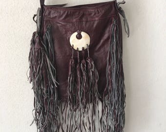 Burgundy shoulder hand made leather bag size small .