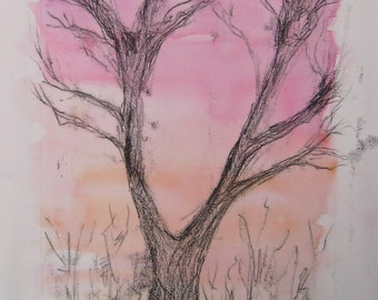Tree at sunset, original monoprint over red and orange watercolour wash on paper, Autumn evening, printmaking sketch, tree print UK