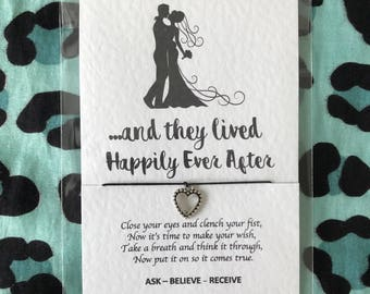 Wedding wish bracelet - and they lived happily ever after - married - bride groom - quote - charm - wish string - make a wish - mr mrs