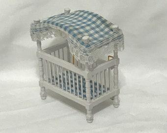 "Dollhouse Miniature  1/2"" scale Blue & White Crib"