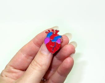 Anatomical heart enamel pin badge