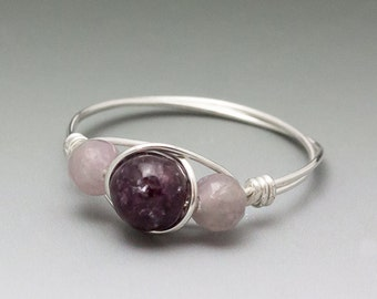 Dark & Light Lepidolite Gemstone Sterling Silver Wire Wrapped Bead Ring - Made to Order, Ships Fast!