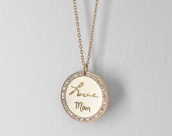 Actual Handwriting Disc Necklace - Personalized Signature Necklace - Pave Stone Pendant  - PN25