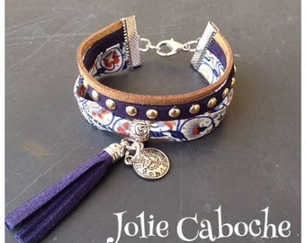 Cotton cuff and suede clasp