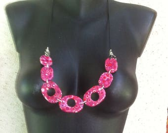 Old pink, red, purple mosaic necklace