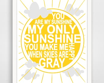 You are my Sunshine Wall Art Kids, Nursery Song, Sun Print, Baby Nursery Art, Yellow Sunshine Print for Kids Room Art