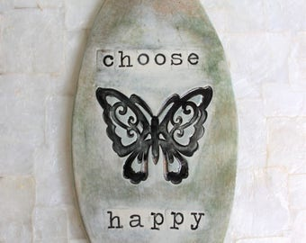 Choose Happy | Ceramic wall hanging