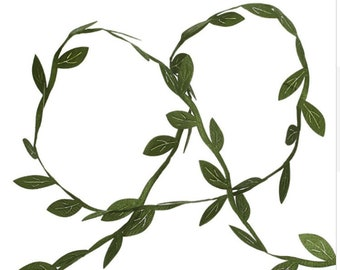 "10 Meters Olive Green Leaves Trim Ribbon Leaves Polyester Vine 1/4"" Wide 1m040218"