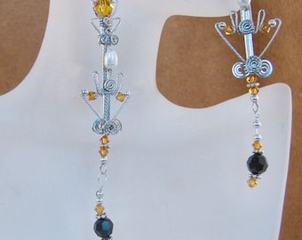 Argentium Sterling Silver with Freshwater Pearls, Citrine Swarovski Crystals Chandelier Dangle Earrings